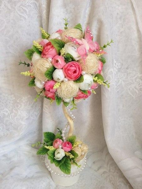 Цветы из сизали своими руками фото