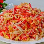 Салат с потрясающим вкусом из крабовых палочек 10 минут!