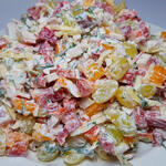 Праздничный салат быстрого приготовления — ничего варить не надо (Видео)