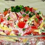 Быстрый и самый вкусный салат с помидорами