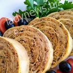 Мясной рулет с грибами в лаваше — замечательная идея быстрого завтрака